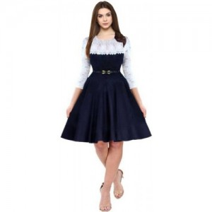 Dream Beauty Fashion White & Dark Blue Fit and Flare Dress