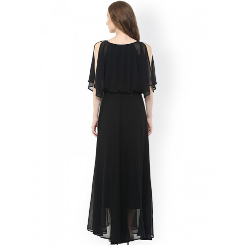 Harpa Women Black Solid Georgette Layered Maxi Dress