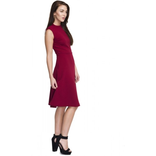 Addyvero Maroon Lycra A-line Party Dress