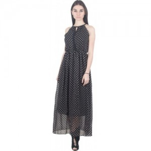 G & M Collections Black & White Georgette Printed Fit and Flare Dress
