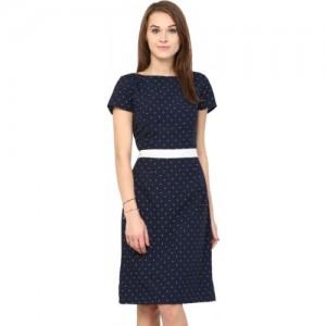 Harpa Blue Crepe Slim Fit Party Wear Dress