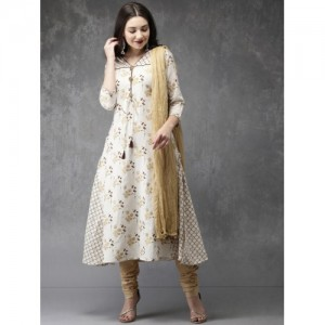 Anouk Women Off-White & Beige Printed Kurta with Churidar & Dupatta