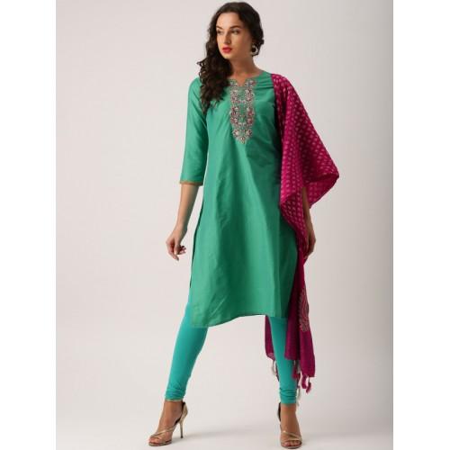 b17af28dde0428 ... IMARA Women Green Embroidered Kurta with Churidar & Dupatta ...