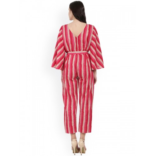 Nayo Red Striped Printed Capri Cotton Jumpsuit