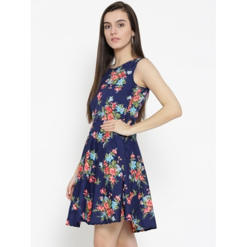 U&F Women's Fit and Flare Dark Blue, Red, Green Dress