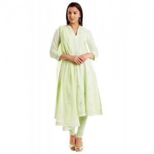 Sea Green Cotton Kalidar Suit Set