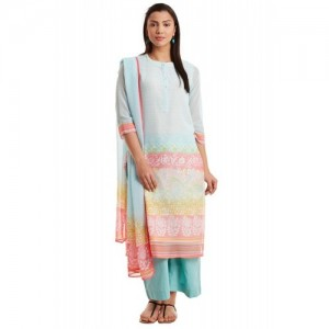 Turquoise Poly Cotton Straight Suit Set