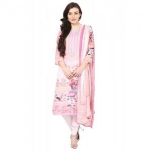Light Pink Poly Cotton Straight Suit Set