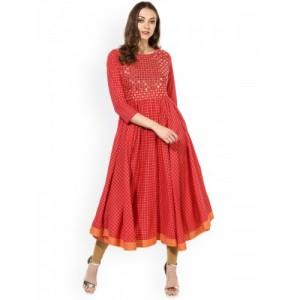 Sangria Red Cotton Checked Embellished Anarkali