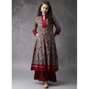 Anouk Brown Cottton Printed A Line Kurta
