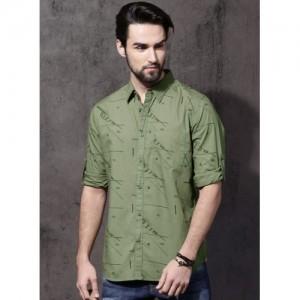 Roadster Green Printed Casual Shirt