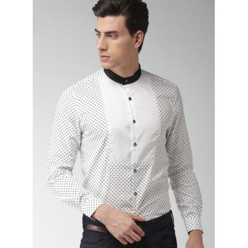 INVICTUS White & Black Slim Fit Printed Partywear Shirt