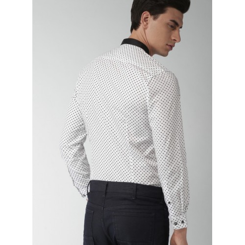 INVICTUS White & Black Slim Fit Printed Partywear Shirt