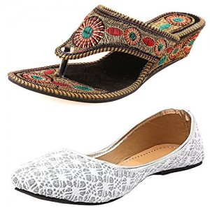 Thari Choice Ethnic Wear Jutti And Chappals Combo Pack