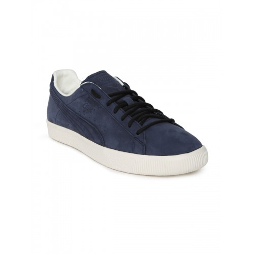 Buy Puma Unisex Navy Blue Clyde Frosted Suede Sneakers online ... af33e1c679