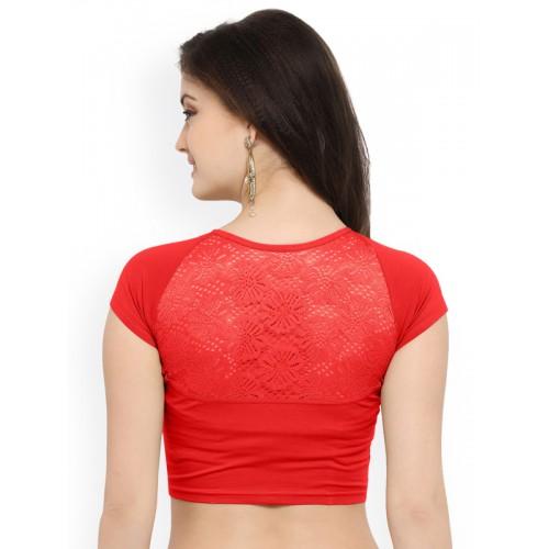Janasya Red Solid Saree Blouse