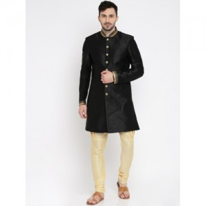 Manish Creations Black & Beige Solid Sherwani