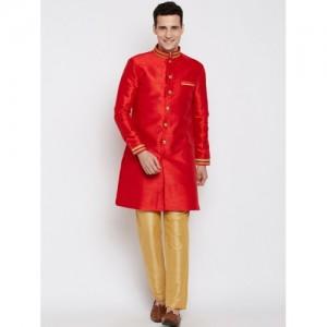 RG DESIGNERS Red & Golden Sherwani