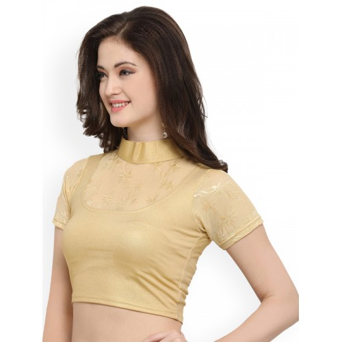 Janasya Gold-Toned Cotton Lycra Saree Blouse