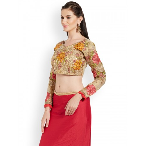 93a32d9362f Buy RIYA Gold-Toned Embroidered Art Silk Saree Blouse online ...