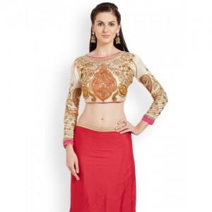 RIYA Cream-Coloured Embroidered Art Silk Saree Blouse