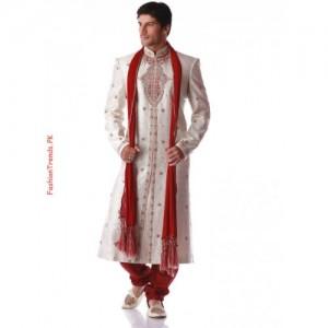 Grooms Cream Sherwani Red And Off White