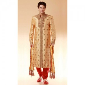 Brocade Designer Indian Wedding Sherwani Beige Size L