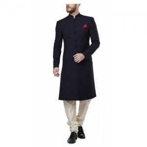 Men's Suiting Kneelong Navy Sherwani For Men