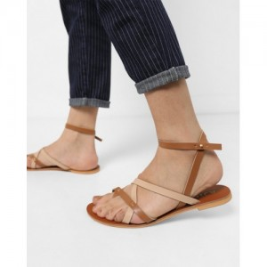 AJIO Brown Synthetic Criss-Cross Sandals with Slingback