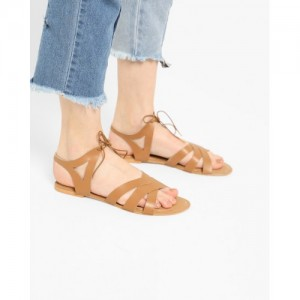MISFIT Brown Criss-Cross Flat Sandals with Tie-Up