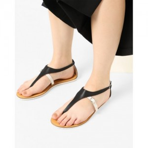 AJIO Black Synthetic T-strap Flat Sandals with Ankle Strap