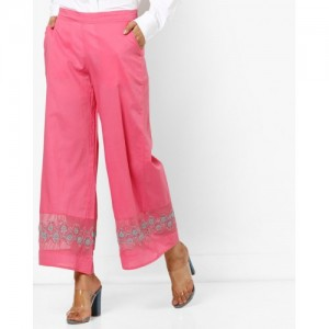 AJIO Palazzo Pants with Floral Embroidery