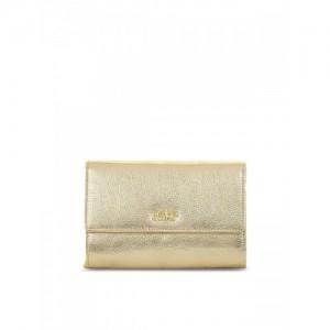 Eske Women Gold-Toned Solid Three Fold Wallet