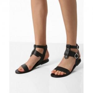 AJIO Black Gladiator Flats with Ankle Strap