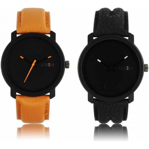 LOREM LR-20-21 Black & Brown Synthetic Leather Combo Watch- For Men