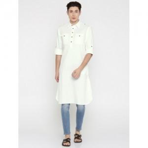 Freehand White Solid Pathani Kurta