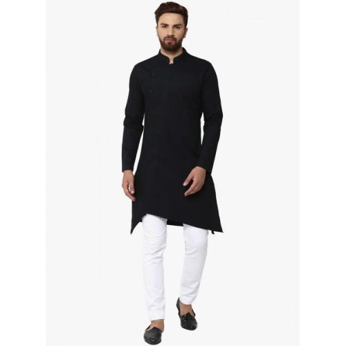 See Designs Black & White Solid Kurta with Pyjamas