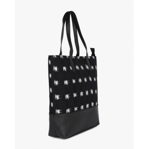 Project Eve Black Printed Tote Bag with Panelling