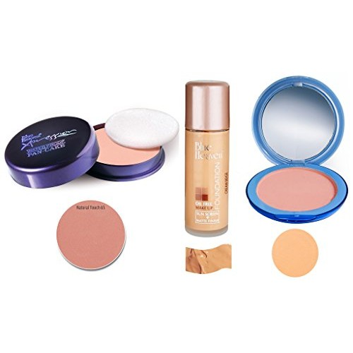 BLUE HEAVEN Xpression Pan Cake (65), Oil Free Foundation (Cream Beige) & Silk On Face Compact (Natural) Combo.