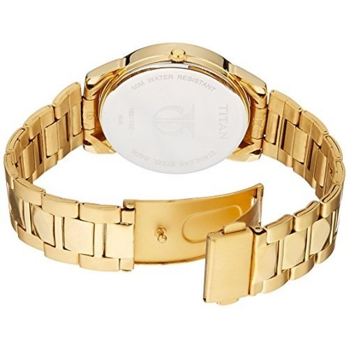 Titan Tycoon  NC1521YM05 Men's Black Golden Analog Watch