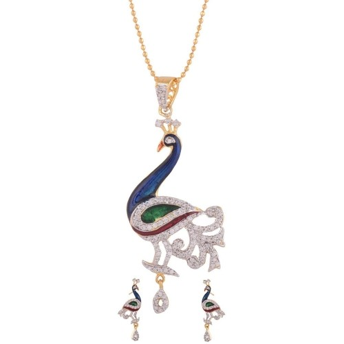Buy 1 gram gold plated peacock design cz pendant set online 1 gram gold plated peacock design cz pendant set aloadofball Image collections