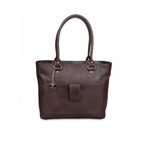 Butterflies Brown Polyester Solid Handbag