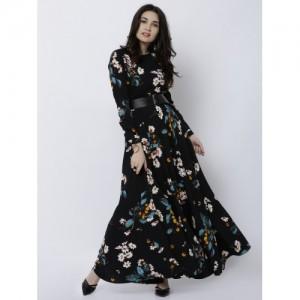 Tokyo Talkies Black Printed Maxi Dress