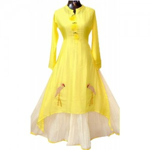 Designer Yellow Full Stitched Cototn Kurti