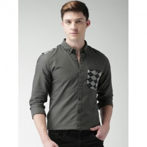 Mast & Harbour Men Charcoal Grey Nancy Slim Fit Solid Casual Shirt
