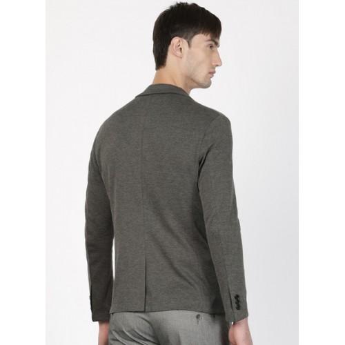 Ether Grey Melange Single-Breasted Casual Blazer