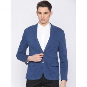 Park Avenue Men Blue Single-Breasted Casual Blazer