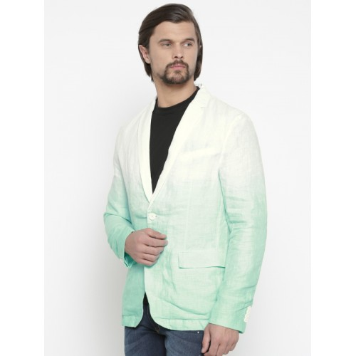 Jack & Jones Blue & White Ombre-Dyed Single-Breasted Casual Blazer