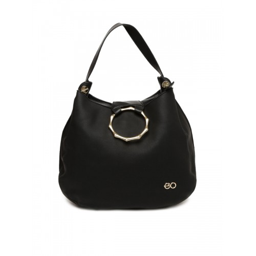 E2O Black Solid Hobo Bag