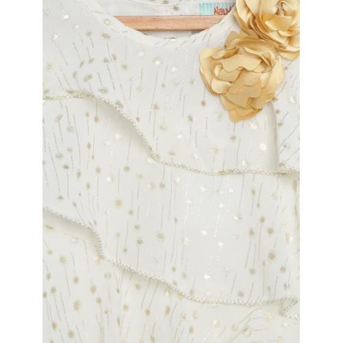 Nauti Nati Girls Off-White Printed Layered A-Line Dress